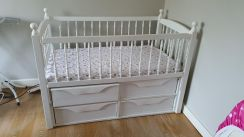 Baby cot with Drawers (inc mattress)