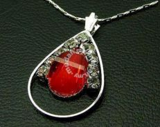 ABPSM-R003 Red Heart Silver Crystal Necklace