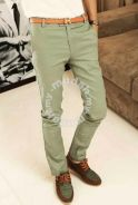 Stylish Trousers Men's Slim Casual Pants (Green)