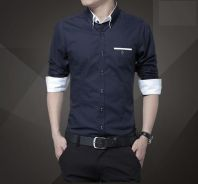 (567) Black Casual Business Long-Sleeved Shirt