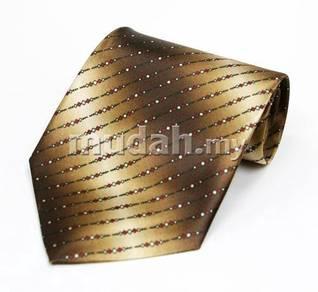 Et197a Hand Made Men Formal Brown Striped Neck Tie
