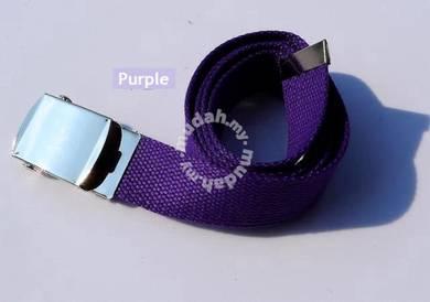 Automatic Roll Buckle Belt Canvas Korean (Purple)