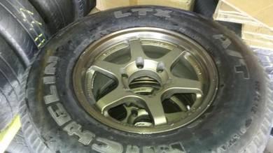 Rim 2nd 4x4 TE37 15 Siap Tayar Michelin 265/70 4Bj