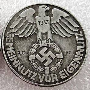 1938 German Nazi Adolf Hitler Third Reich Exonumia