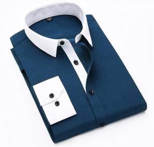 (5120) Blue Stylish Plain Long-Sleeved Shirt