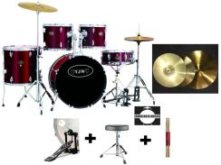 Tjw solid acoustic drum with cymbals set (rd)