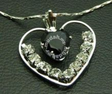 ABPSM-B009 Black Heart Silver Crystal Necklace