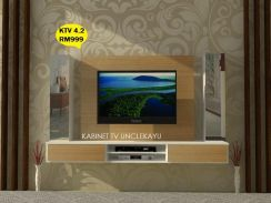 Kabinet Tv Gantung Moden Floating Cabinet