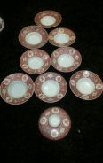Chinese red antique saucers n lid total 9pcs SLG