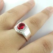Red zircon stone with genuine silver 925