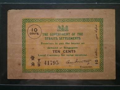 10 cents 1920 - straits settlement-t/9 41795 -rare