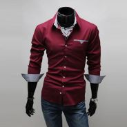 [51] Plain Plaid 3 Color Long Sleeved Shirt (Red)