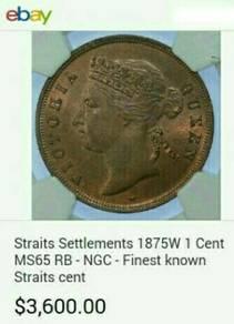 Duit syiling 1875 Straits Settlements 1 cent.