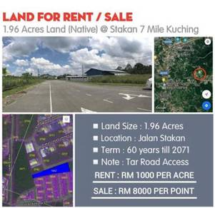 2 Acres Land (RENT) at Stakan 7 mile Muara Tuang Kuching
