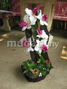 Aipj Teak wood outdoor artificial orchid plants