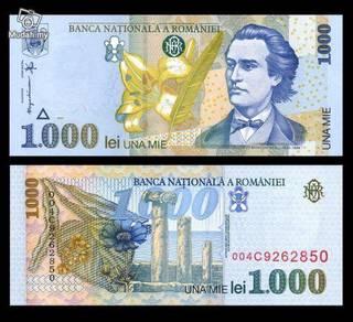 Romania p-106 1000 lei unc 1998
