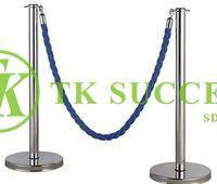 Stainless Steel Q Up Stand Velvet Rope - Flat Top