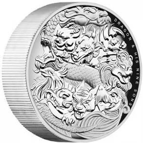Dragon & His 9 Sons 5oz High Relief Silver coin