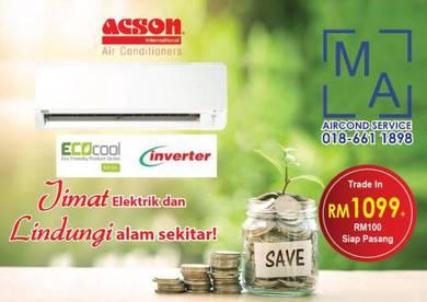 1hp Acson Inverter new aircond air cond