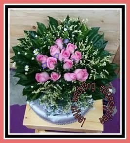 Gubahan sireh junjung fresh rose flower pink