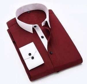 (5120) Red Stylish Plain Casual Long-Sleeved Shirt