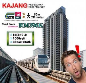 Kajang MRT Condo, 1000SQ, 3R2B, FreeHold, 0%downpayment