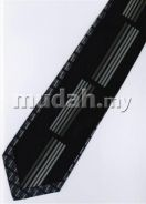 ID1208 Hand Made Men Formal Black Striped Neck Tie