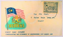 0014. merdeka first day cover 1957