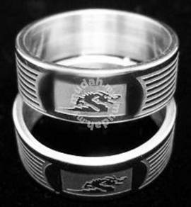 ABRSS-D003 1 Dragon 2 tone 6 Line Stainless Ring 8