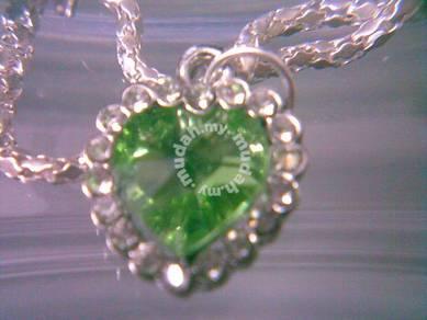 ABPJ-H017 Love Green Heart of Ocean Silver Crystal
