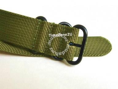 Zulu Watch Strap : Olive Drab Black PVD Coated