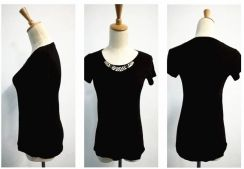 Black soft t shirt top lycra cooling stretchable