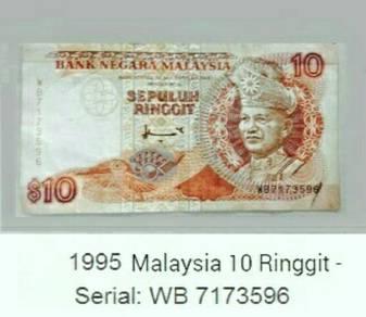 Duit kertas 1995 sepuluh ringgit Malaysia