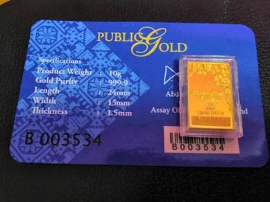 Gold bar 10 gram bunga emas public gold emas 999.9