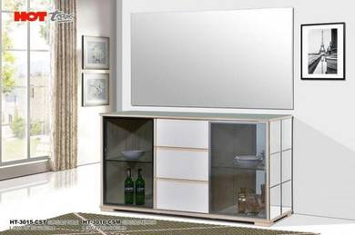 Glass console table with mirror