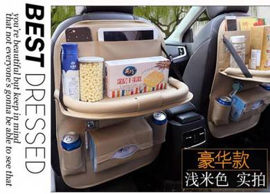 Quality PU Leather Car Seat Back Organizer Table
