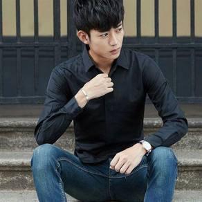 (570) Black Classic Plain Man Long Sleeved Shirt