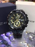 Casio Men's Edifice Black Gold Dial Stainless Stee