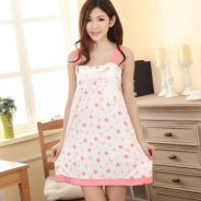 Pink Design Star Sling Dress Pajamas Baju Tidor