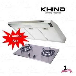 Khind KHD649 Cooker Hood+Stainless Steel Hob-Set