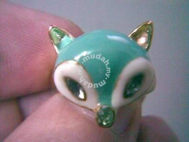 ABRGM-F009 Unique Fox Golden Metal Rhinestone Ring
