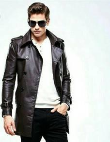 Men Leather Design Trench Jacket. MDK000003