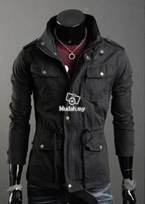 Army Hooded Multi-Pocket Coat Drawstring's Jacket