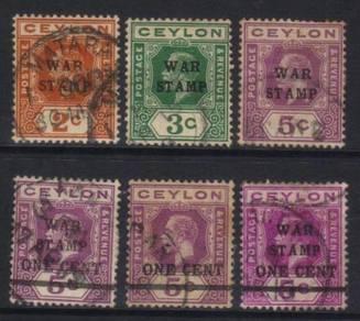 Ceylon 1918-1919 war stamp 6 used cat 12 bk484