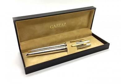 Gazzaz Silver Pen Set (Fountain Ballpoint Pens)