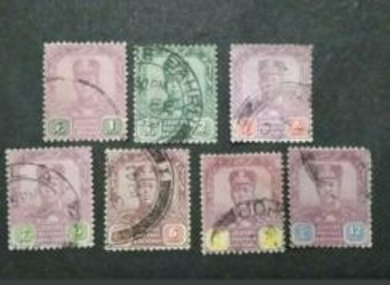1921-25 Johore Sultan Sir Ibrahim Up To 12c-7vUsed