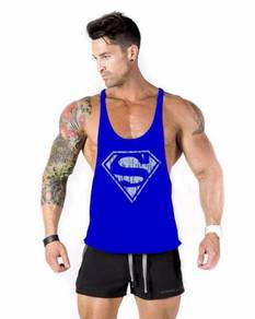 Super Man Fitness Gym Sport Singlet baju biru