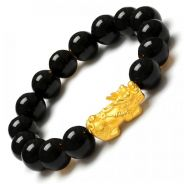 24K Alluvial Gold Plated Pixiu Obsidian Borong