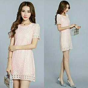 Round Neck Lace Mesh Shift Dress (KR096057)