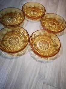 70S vintage glass 5.5 inch dessert plate